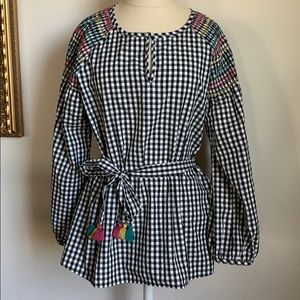Madewell gingham multicolor plaid blouse